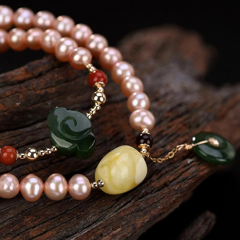 Natural Healing Pink Pearls Bracelet 2 Layers Amber Jasper Charms