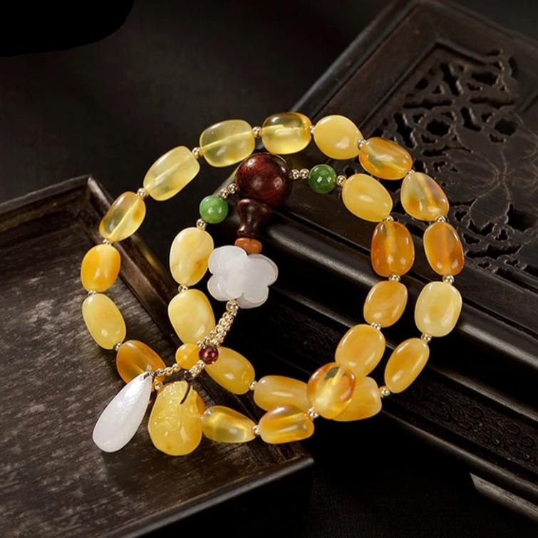 Natural Healing Amber Beads Bracelet 2 Layers with Charms