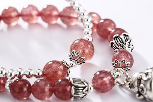 Genuine Healing Strawberry Quartz Bracelet 2 Layers 925 Sterling Silver Cat Charm