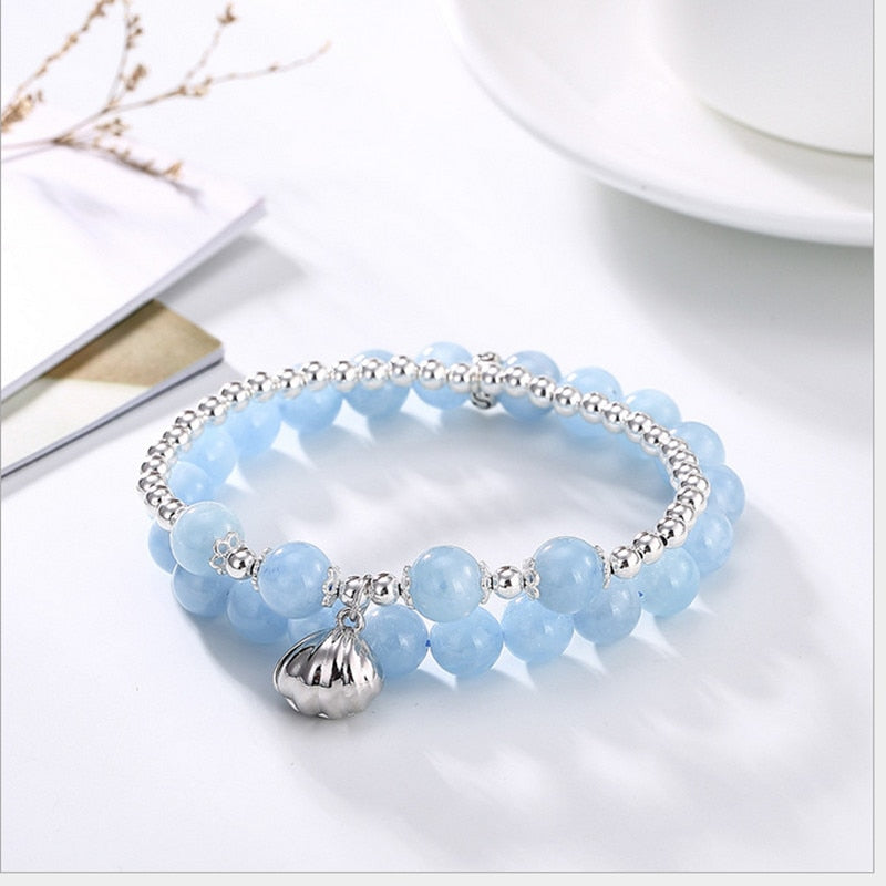 Authentic Healing Aquamarine Beads Bracelet 2 Layers 925 Sterling Silver
