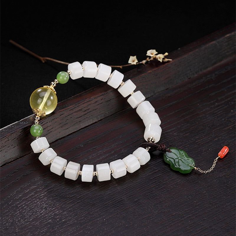Natural Healing White Jade Beads Bracelet with Amber Green Jasper Charm