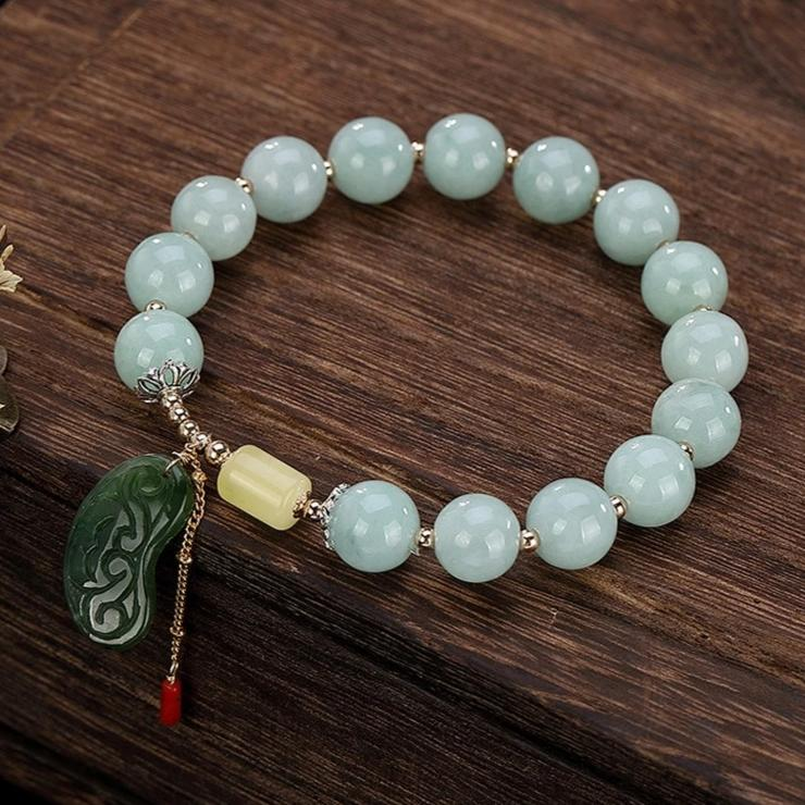 Genuine Healing Emerald Beads Bracelet with Green Jasper Amber Charm