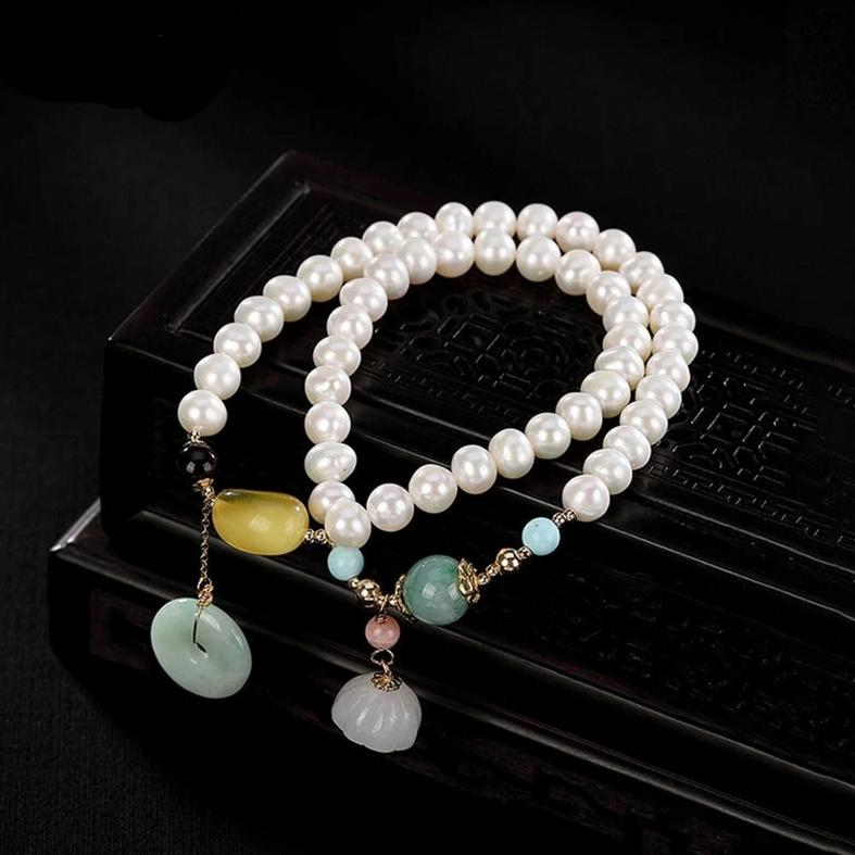 Natural Healing Pearl Bracelet 2 Layers Amber Jade Emerald Charm