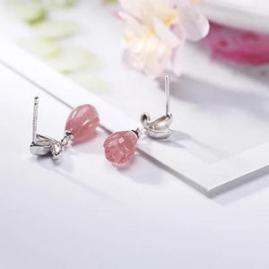 Authentic Healing Fluorite or Strawberry Quartz Stone on 925 Sterling Silver Earrings