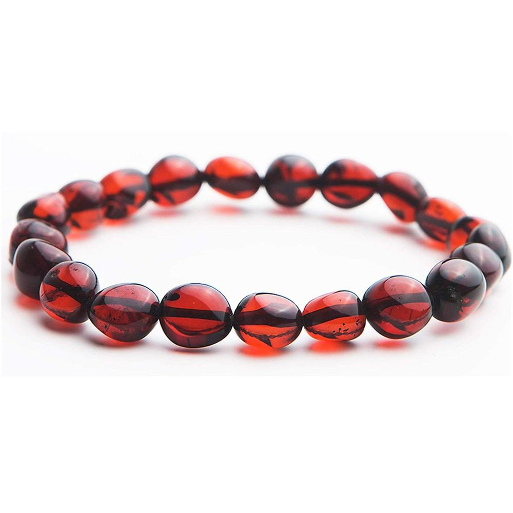 10x8mm Natural Healing Blood Red Amber Beads Bracelet