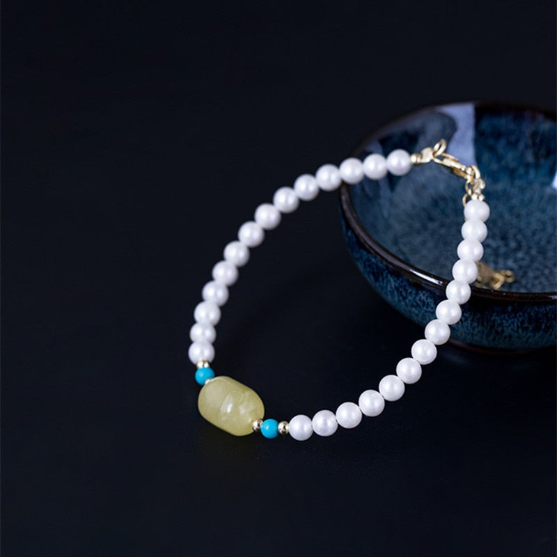 Genuine Healing Pearls with Amber and Turquoise on 925 Sterling Silver Bracelet