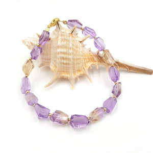 Unique Natural Healing Ametrine Faceted Beads Bracelet