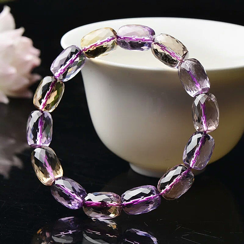 Authentic Healing Ametrine Faceted Stones Bracelet