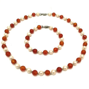 Authentic Healing Carnelian/Jade/Onyx Stones & Natural Pearls Necklace & Bracelet Jewelry Set