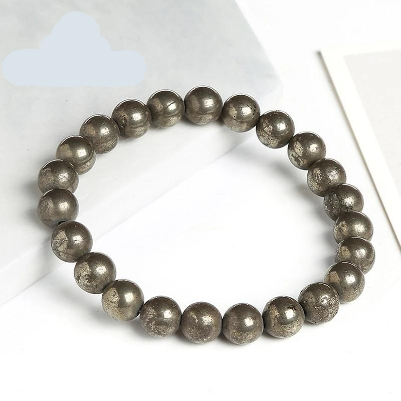 Natural Healing Pyrite Stones Bracelet 8mm Beads