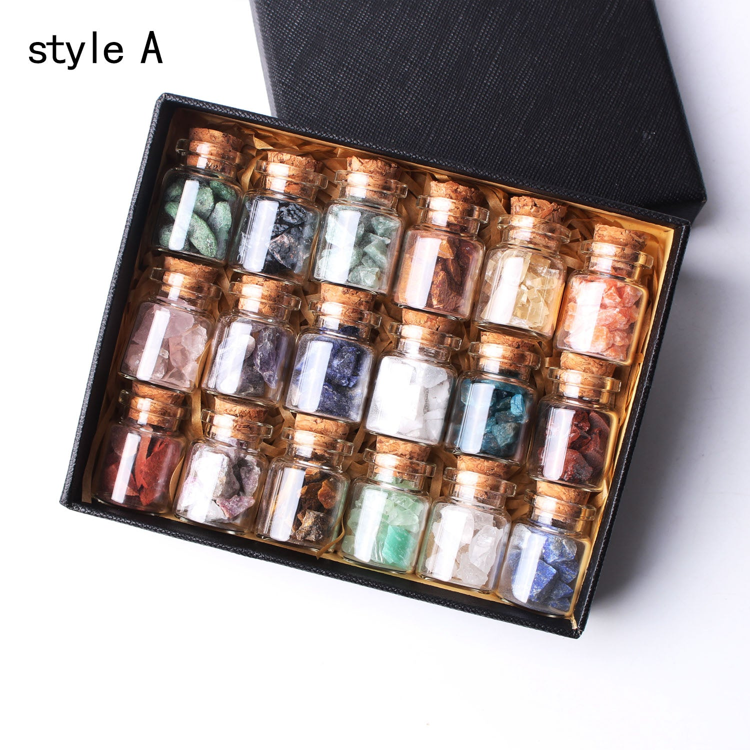 1 Set / 18Pcs Nice Collection Genuine Healing Stones in Bottles and Storage Box
