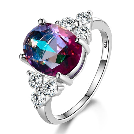 Sterling Silver Ring 9 Different Colors Healing Cubic Zirconia or Mystic Topaz