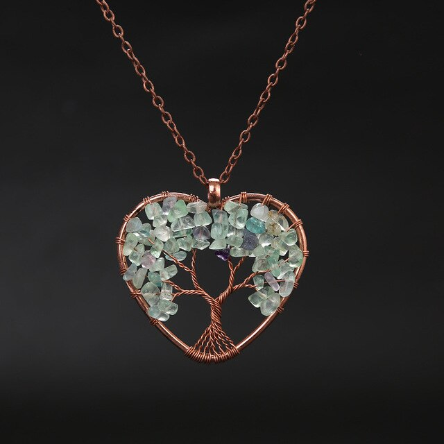 22 varieties Tree Of Life Heart Shaped Pendant Necklace Natural Healing Stone