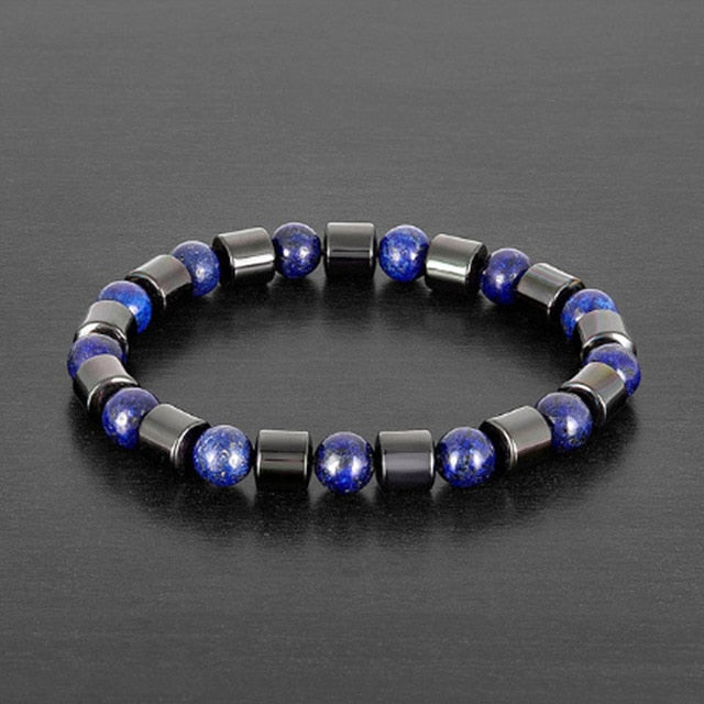 Genuine Healing Hematite Stones 8mm Beads with Tiger Eye / Lapis Lazuli / Obsidian