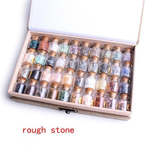1 Set / 40Pcs Nice Collection Genuine Healing Stones in Bottles and Storage Box
