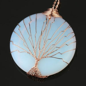 5 Varieties Natural Healing Stones Round Shaped Tree of Life Pendant Necklace