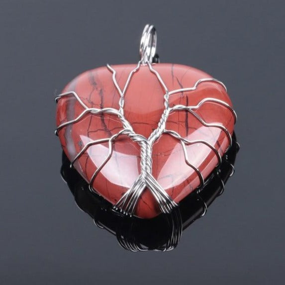 Tree of Life Heart Shaped Pendant Necklace 13 Varieties Authentic Healing Stones