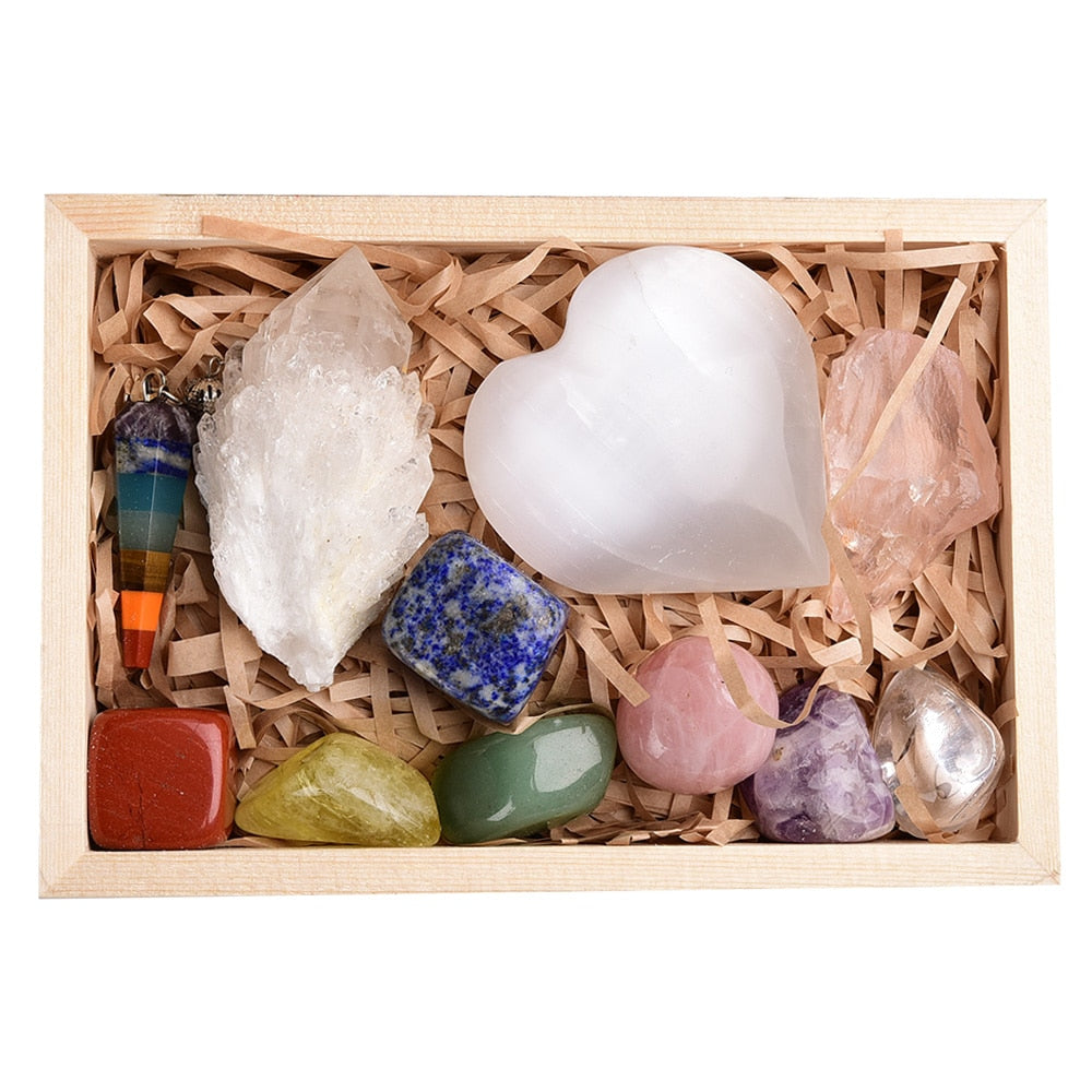 Amazing Value 11pcs set Natural Healing Stones with Crystal Quartz Cluster