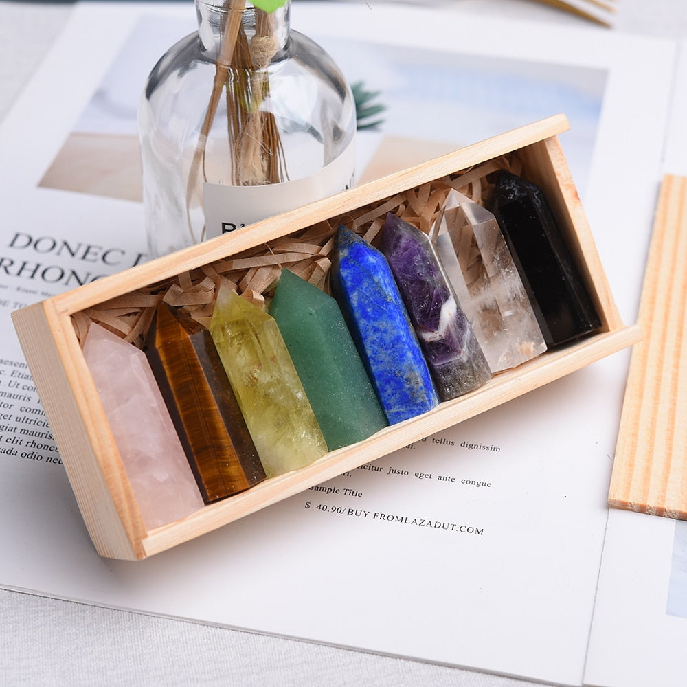 1 Set of 8 Authentic Healing Stones Crystals Obelisks in Wooden Gift Box