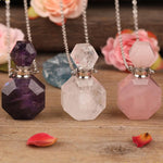 Natural Healing Stones Pendant Necklace Essential Oil Diffuser Vial 5 Varieties