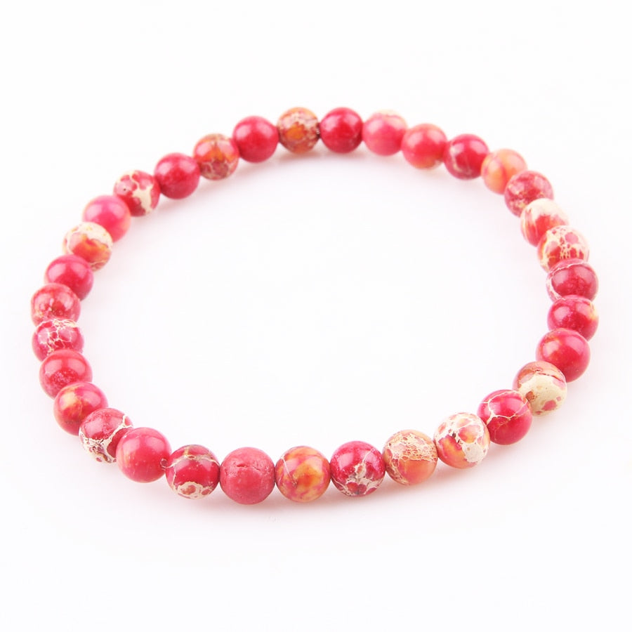 Natural Healing Red Turquoise Stone Beads Bracelet