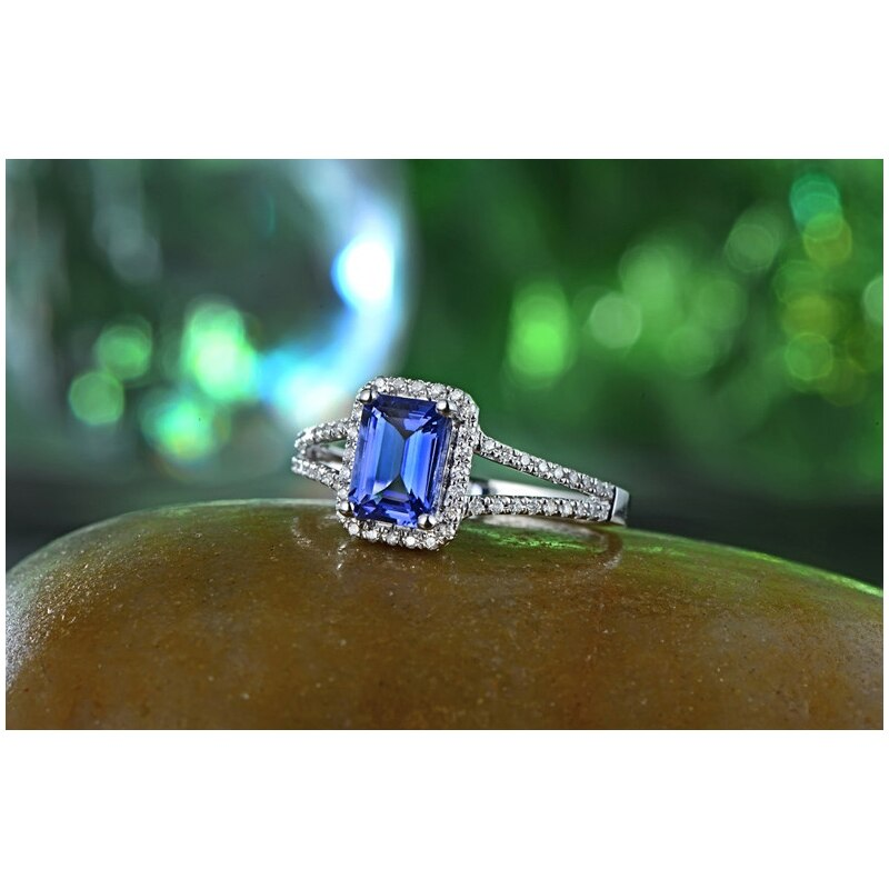 Healing Genuine 1.08ct Tanzanite with 0.25ct Natural Diamonds on 14k Solid White Gold Ring