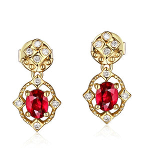 14K Solid Gold Earring with Natural Healing 0.62ct Ruby and Authentic Diamonds