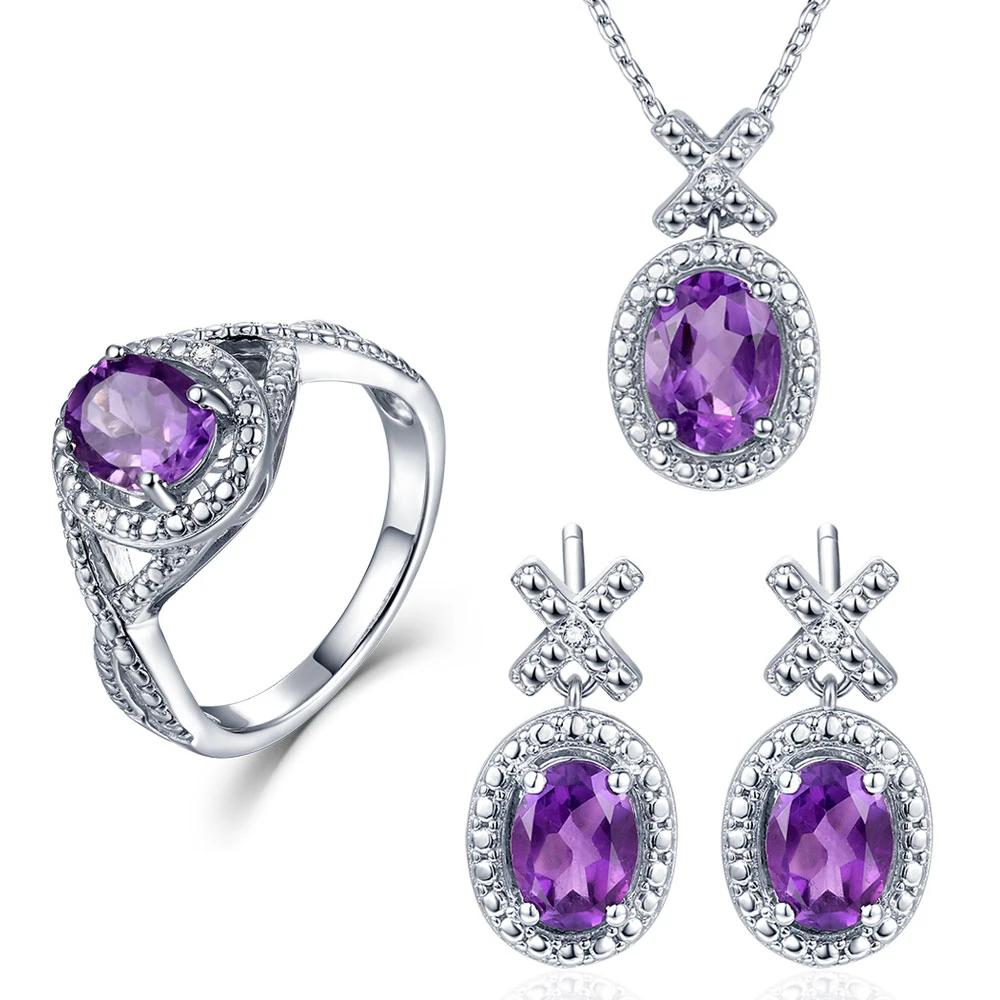 4.1ct Real Healing Amethyst and 0.03ct Natural Diamonds on 925 Sterling Silver Jewelry Set