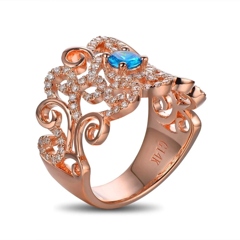 14k Solid Rose Gold Ring 0.41ct Authentic Healing Topaz & 0.49ct Natural Diamonds