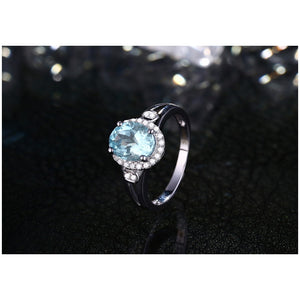 1.50ct Natural Healing Aquamarine on 10k Solid White Gold Ring & 0.24ct Authentic Diamonds