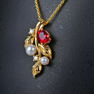 Authentic Healing Ruby with Genuine Pearls and Diamonds on 14K Solid Gold Pendant