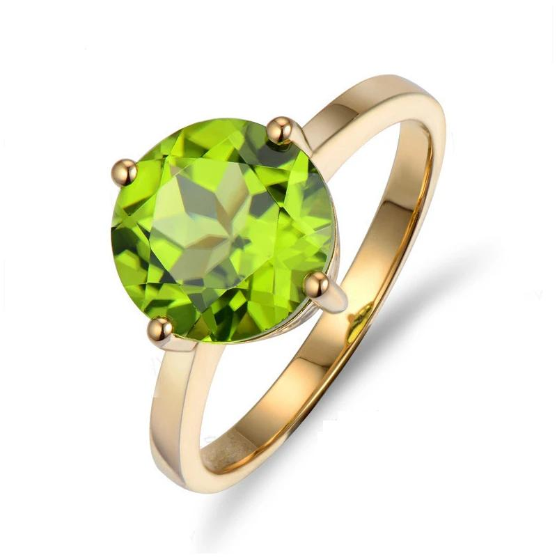 2.27ct Authentic Healing Peridot Solitaire on 10K Solid Yellow Gold Ring