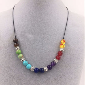 7 Chakra Healing Point Pendant Necklace Reiki Beads
