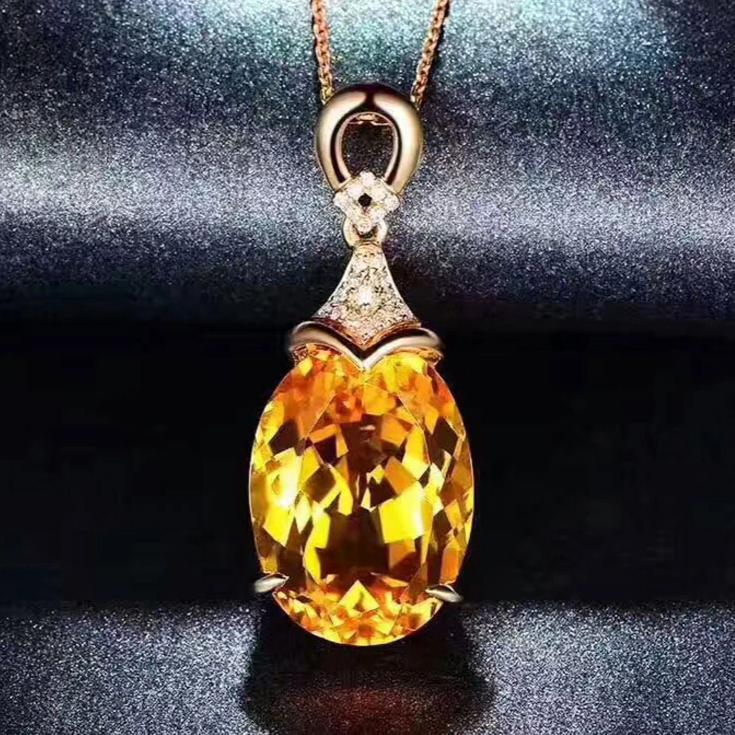 Natural Healing Citrine on Genuine Solid 925 Sterling Silver Necklace