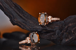14K Solid Rose Gold Natural Healing 2.58ct Smoky Topaz & 0.12ct Diamonds Earrings