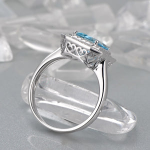 1.82ct Natural Healing Aquamarine & 0.36ct Authentic Diamonds on 14k Solid White Gold Ring