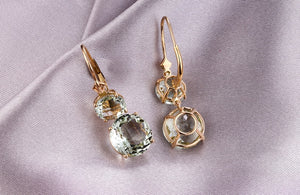 14K Solid Gold Earring with 12.85ct Genuine Green Amethyst