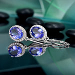 14K Solid White Gold Natural Healing 2.59ct Blue Tanzanite and Diamond Earrings