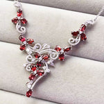 Authentic Healing Garnet on 925 Sterling Silver Platinum Plated Necklace