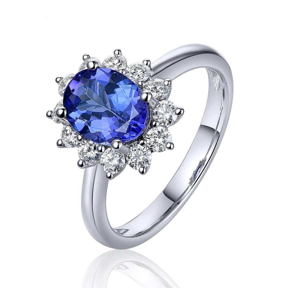 1.31ct Natural Healing Blue Tanzanite  on 14K Solid White Gold with Natural Diamond Ring