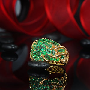 14K Solid Yellow Gold Ring with 5.55ct Authentic Healing Emeralds