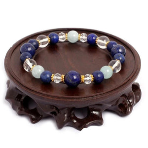Beautiful Natural Healing Aquamarine Crystal Quartz Lapis Lazuli  Beads Bracelet