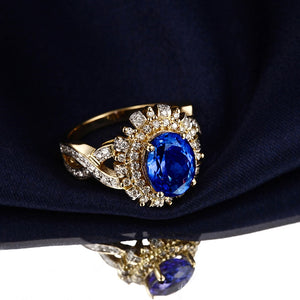 Magnificent 14k Solid Yellow Gold Ring with 1.98ct Genuine Healing Tanzanite and 0.59ct Natural Diamonds
