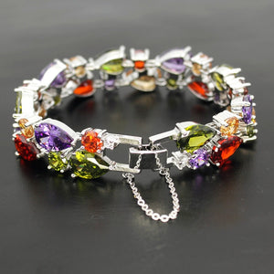 "Multicolor Real Healing Cubic Zirconia Gems on Silver Plated Bracelet  8"" 21cm"