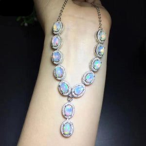 Natural Healing Opal on 925 Sterling Silver Necklace