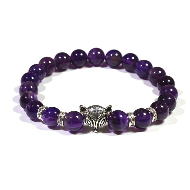 Authentic Healing Amethysts / Rhinestones Beads Bracelet with Fox Charm