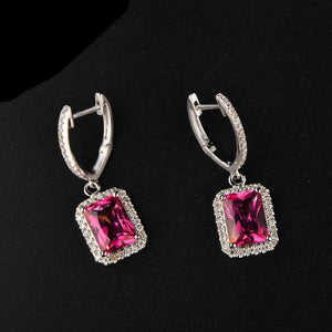 14K Solid White Gold Earring 5.65ct Authentic Healing Pink Topaz with Genuine Diamonds