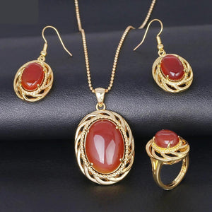 Genuine Healing Malay Jade / Red Agate Jewelry Set