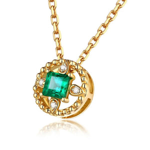 0.35ct Healing Authentic Emerald with Genuine Diamonds on 14k Solid Yellow Gold Necklace