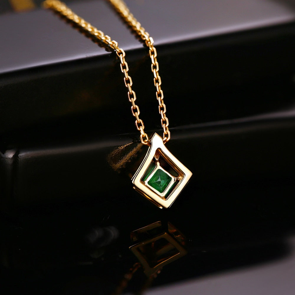 0.35ct Authentic Healing Emerald with Genuine Diamond on 14k Solid Yellow Gold Pendant